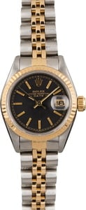 Pre Owned Rolex Datejust 69173 Black Tapestry Dial