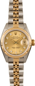 Pre-Owned Rolex Datejust 69173 Champagne Diamond Dial
