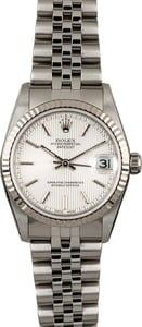 Rolex Datejust 78274 Silver Tapestry Dial 31MM