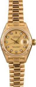 Pre-Owned Rolex Ladies 26MM President 69178 Diamond Dial