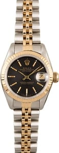 Rolex Ladies Datejust 69173 Black Tapestry Dial