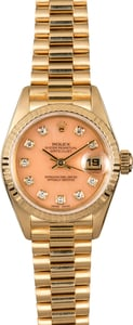Rolex Ladies President 69178 Coral Diamond Dial