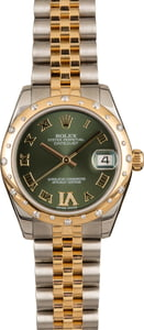 Mid-Size Rolex Datejust 178343 Olive Green Dial