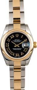 Rolex Lady Datejust 179163 Black Roman Sunbeam Dial