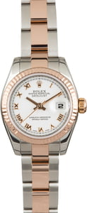 Rolex Ladies Everose Datejust 179171 White Roman