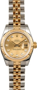 Rolex Ladies Datejust 179173 Champagne Diamond Dial