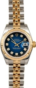 Rolex Lady Datejust 179173 Blue Vignette Diamond Dial