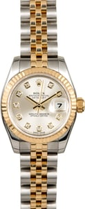 Diamond Rolex Lady Datejust 179173 Silver Dial