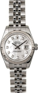 Certified Rolex Ladies Datejust 179174 MOP Diamond Dial