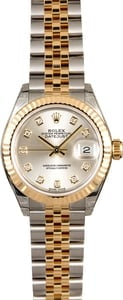 Unworn Rolex Lady Datejust 279173 Silver Diamond Dial