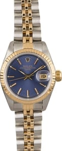 Rolex Lady Datejust 69173 Two Tone Jubilee Band with Blue Dial