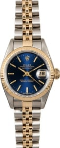 Rolex Lady Datejust 69173 Jubilee Band with Blue Dial