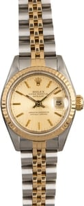 Two Tone Rolex Lady Datejust 69173 Champagne Tapestry Dial