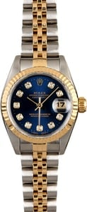 Certified Rolex Lady Datejust 69173 Blue Diamond Dial
