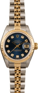 Used Rolex Ladies Datejust 69173 Blue Diamond Dial