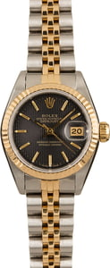 Ladies Black Tapestry Rolex DateJust 69173