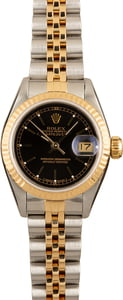 Pre-Owned Black Dial Rolex Ladies Datejust 69173