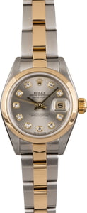 PreOwned Rolex Ladies Datejust 79163 Rhodium Diamond Dial