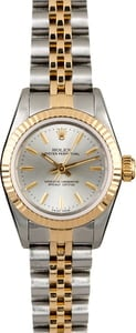 Two Tone Rolex Oyster Perpetual 67193 Silver Dial