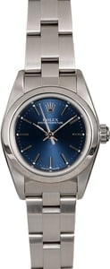 Rolex Ladies Oyster Perpetual 76080 Blue Index Dial
