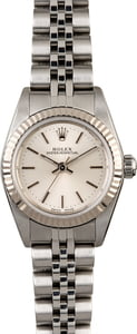 Rolex Ladies Oyster Perpetual 76094 Silver Index Dial