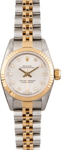 Rolex Oyster Perpetual 67193 Silver Diamond Dial