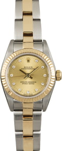 Rolex Oyster Perpetual 76193 Champagne Diamond Dial
