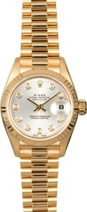 Rolex Ladies President 79178 Silver Diamond Dial