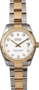 Mid-Size Rolex Datejust 178273 White Diamond Dial
