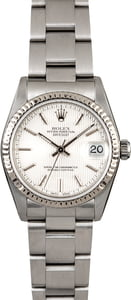 Mid-Size Rolex Datejust 78274 Silver Tapestry Dial