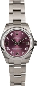 Mid-Size Rolex Oyster Perpetual 177200 Purple Roman Dial