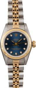 Used Rolex Ladies Oyster Perpetual 67193 Blue Diamond Dial