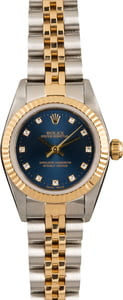 Pre Owned Rolex Oyster Perpetual 76193 Blue Diamond Dial