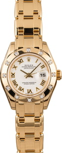 Pre Owned Rolex Lady Pearlmaster 80318 Diamond Bezel 18K