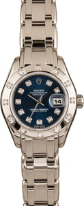 Pre Owned Rolex Pearlmaster 80319 Blue Diamond Dial