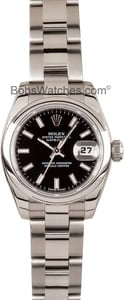 Used Ladies Rolex DateJust Black Dial