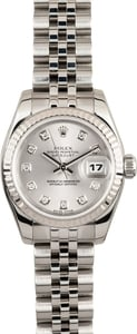 Ladies Rolex Datejust Silver Diamond Dial 179174