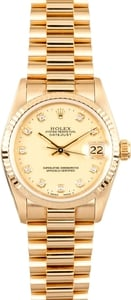 18K Rolex Gold Midsize Watch 68278 Diamond Dial