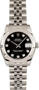 Rolex Datejust Midsize Watch Diamond Dial 178274