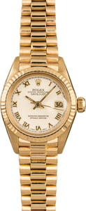 Pre-Owned Rolex President 6917 White Roman Dial