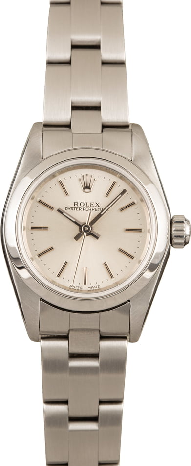 Rolex Ladies Oyster Perpetual 76080 Silver Index Dial