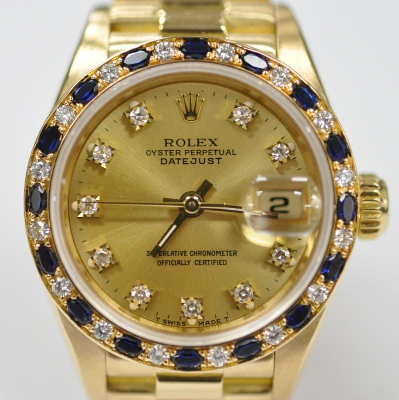 Rolex Ladies President Watch 69168 Sapphire Diamond Bezel