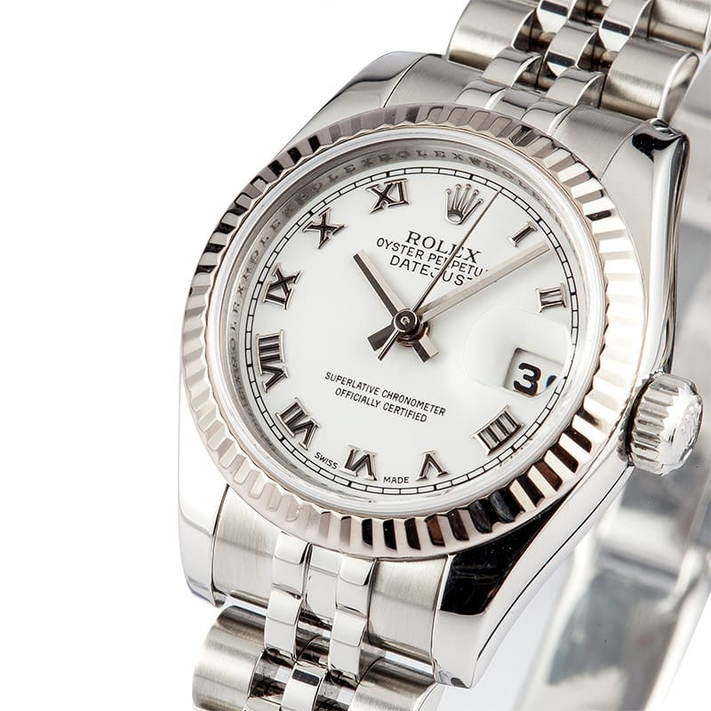 rolex ladies datejust oyster perpetual with white dial. Black Bedroom Furniture Sets. Home Design Ideas