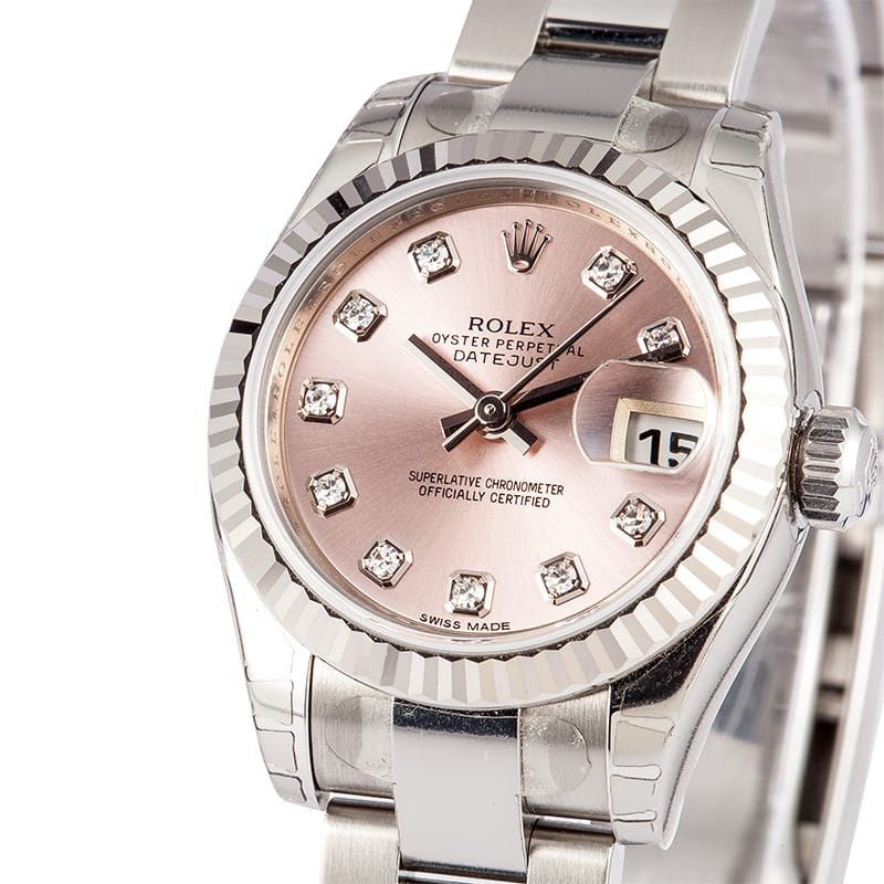 ladies used rolex oyster perpetual 179174 diamond dial save at bob 39 s watches. Black Bedroom Furniture Sets. Home Design Ideas