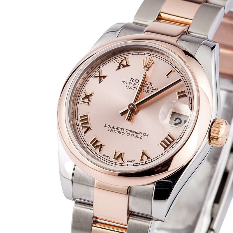 ladies rolex rose gold midsize watch save at bobs watches