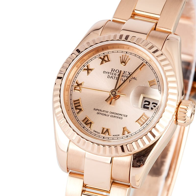rolex oyster perpetual datejust rose gold ladies price