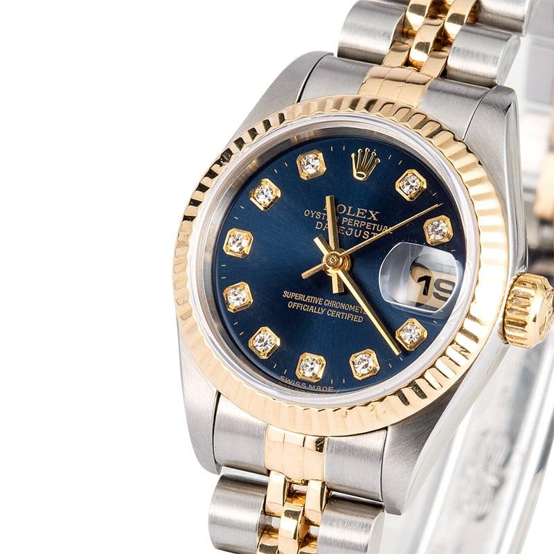 876b486cd Rolex Ladies Datejust 69173 Blue Diamond