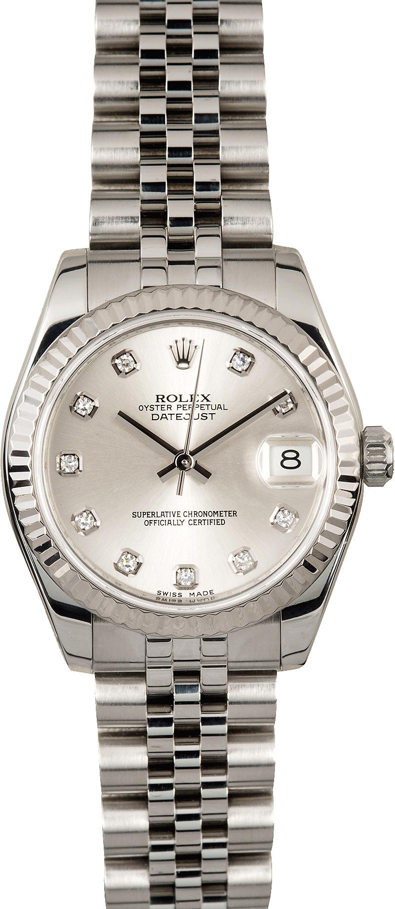 Used Rolex Submariner >> Rolex Datejust Mid-size 178274 Diamond Dial
