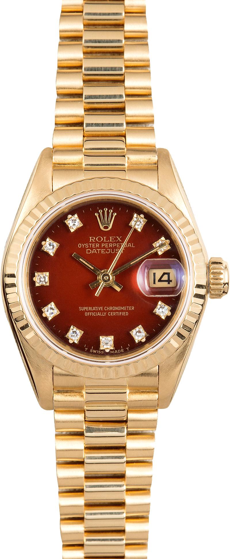 Rolex Ladies President 69178 Red Diamond Dial