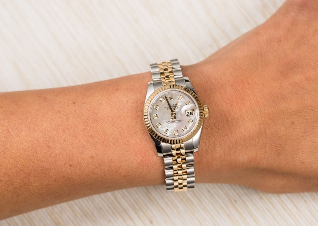 used ladies rolex datejust watch 179173 save at bob 39 s. Black Bedroom Furniture Sets. Home Design Ideas
